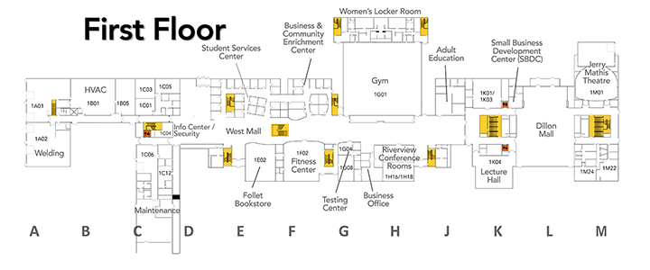 Map of first floor at SVCC