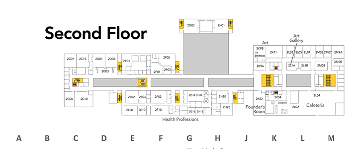 Map of second floor at SVCC