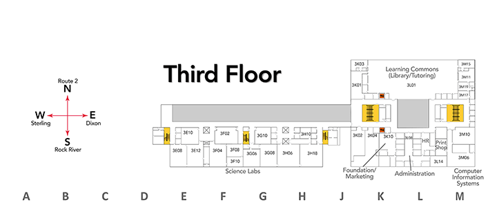Map of third floor at SVCC