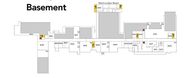 Map of basement floor at SVCC