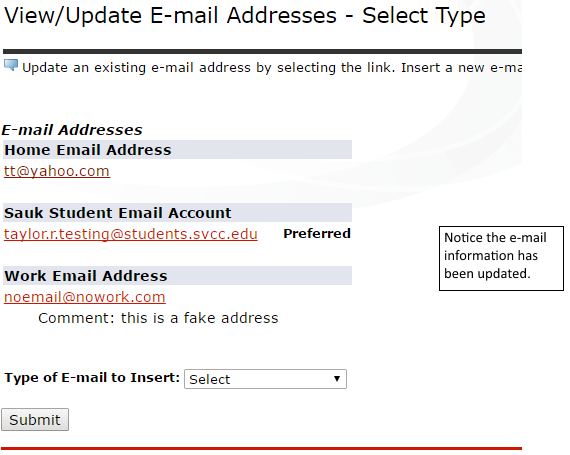 Updating your Email Address - SOAR Online Help - Skyhawk Student